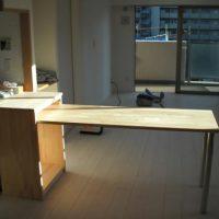 【施工後】キッチンカウンターを作りました。下部は収納になっています。